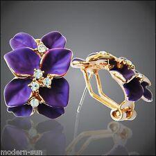 Purple Enamel Flower Leaves 18K GP Rhinestone  Crystal Buckle Earrings E2010
