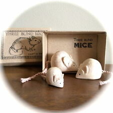 East of India 3 Three Blind Mice Cute Wooden Carved Boxed Vintage Style Gif