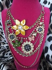 Betsey Johnson Vintage Garden Daisy Checkered Frog Butterfly Ladybug Necklace