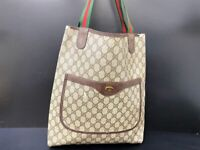 Auth Gucci Tote Bag Sherry line Browns PVC Leather Italy Old Gucci Y-1488