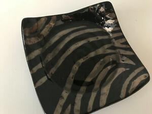 Pier 1 Imports Candle Glass Holder Animal Print Zebra Stripe Black & Gold - NEW