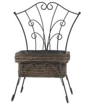 Rustic Metal Mini Seat Planter Holder with Lined 48cmH x 36cmW Brown Willow Box