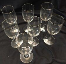 """Beautiful Vintage Platinum Rim Crystal Wine Glasses 6-1/2"""" Tall, Set of 7..."""