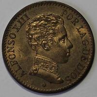 ESPAÑA 1 céntimo 1906 *6*  SL.V.  cobre Rey Alfonso XIII ceca de Madrid S/C