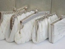 Ivory Diamante Crystal Satin Bridal Wedding Prom Purse Clutch Handbag Bag UK