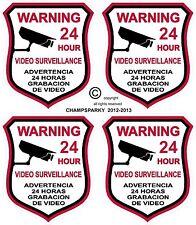 4 VIDEO SURVEILLANCE Security Burglar Alarm Decal  Warning Sticker Signs Decals