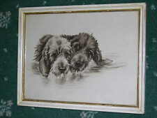 More details for orig antique watercolour painting of 2 otterhounds otter hound signed dated 1911