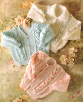 "Baby Cardigans & Sweater Diamond Bobble/ Flower ~ 20"" - 26"" DK  Knitting Pattern"
