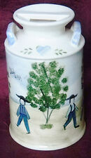 Vintage 1989 Jeanne Koch Amish Folk Art Hand-Painted Ceramic Milk Pail Canister