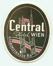 VIENNA WIEN AUSTRIA CENTRAL HOTEL VINTAGE LUGGAGE LABEL