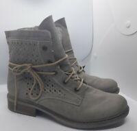 Rieker Antistress Beige Lattice Effect Ankle Boots Size 5 UK 38 EU Lace Up Zip