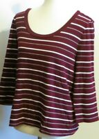 Chaps Women's XL burgundy maroon red striped 3/4 sleeve t shirt top 100% cotton
