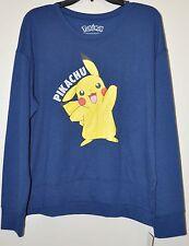 Pokemon Juniors Navy Blue Pikachu Graphic Long Sleeve French Terry Top Sz XL