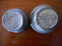 Antique Ford Model Embossed Hub Caps 2 of them Salvaged Rat Rod Part Vintage USA
