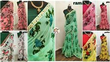 Bollywood Saree Indian Designer Floral Print Sari with Embroidery Lace Border KR