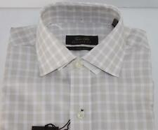 Tasso Elba Dress Shirt Check Regular Fit Non Iron Tan Khaki White 14 1/2 NWT