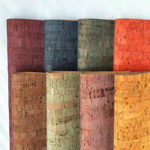 8 Colored 0.7mm Thick Stripe Printed Cork Wood Leather Fabric For Earring Crafts