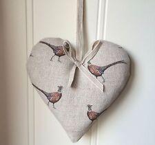 Lavender Heart FLOHR & CO  Pheasants  Fabric Ribbon  Austen  Linen EASTER GIFT