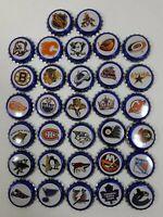 Set of 32 Different Beer Bottle Caps NHL Labatts Team Logo's Hockey Team