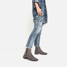 Zara Woman Bnwt Gris Planas Botas Hasta El Tobillo Con Cremallera EU 38 UK 5 nos 7.5 Ref. 6156/101