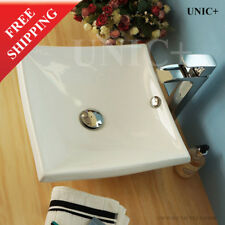 Square Bathroom Sink, White Ceramic Square Vessel Sink, Bathroom Sink, BVC007