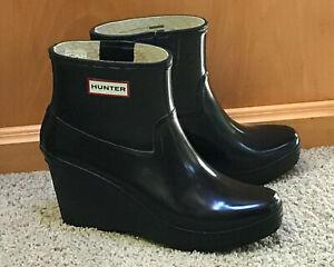 HUNTER Aston Black Wedge Ankle Rain Boots Womens US Sz 10, EU 42, UK 8 Excellent