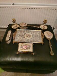 STUNNING Vintage Petit Point Ormolu Dressing Table/Vanity Set