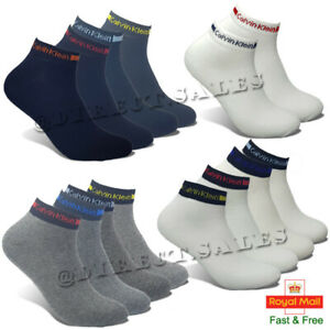 CK Calvin Klein Mens Womens Low Cut Trainer Socks Liner Cotton Sports 6-11 lot