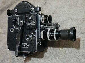 Bolex H16 camera 16mm + Som Berthiot 25mm Yvar 75mm Yvar 16mm CASE Free Postage