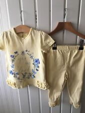 Baby Girl's Clothes 9-12 Months - 2pc Outfit Flower Detail Top & Leggings Set