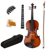 4/4 Full Size Natural Acoustic Violin Fiddle With Case Bow Rosin Mute Stick Q3I6