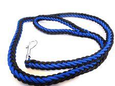 DOG LEAD PLAITED NYLON ROPE LEAD 110 CM LONG TRIGGER CLIP BLUE/Black