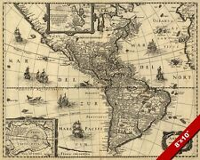 ANTIQUE 17th CENTURY MAP OF NORTH & SOUTH AMERICA CANVAS GICLEE 8X10 ART PRINT