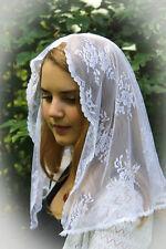 ~Evintage Veils~ White Chantilly  Lace Chapel Veil Mantilla  Latin Mass