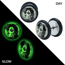 Glow in the dark sugar skull Zombie earrings fake gauges plugs tapers PAIR w38