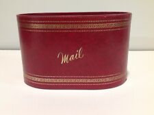 Vtg Mail Letter Holder Desk Organizer Red w/Gold Design Paperboard, FW Woolworth