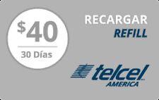 TelCel America  Prepaid $40 Refill Top-Up Prepaid Card ,PIN / RECHARGE