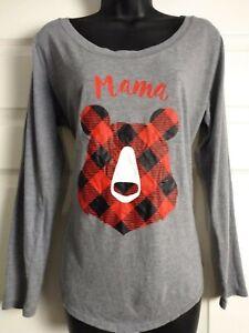 Christmas Family Matching Pajamas Mama Bear Red Buffalo Plaid LS Shirt Womens XL
