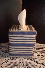 Blue & Beige Stripped Tissue Box Cover Desk Office Gift Bath Bed Den Car