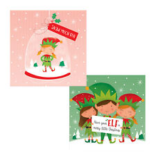 Pack of 10 Christmas Cards with Glitter Detail - 8486 Elf