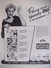 PUBLICITÉ DE PRESSE 1952 ARTHUR MARTIN APPAREIL DE CUISINE - ADVERTISING