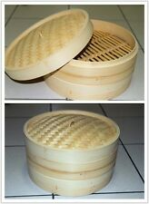 11 Inch Brand New Bamboo Steamer Set - 2 Steamer Baskets With 1 Lid