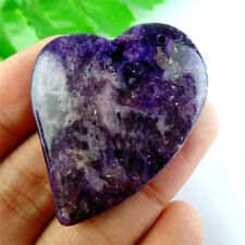 Natural Purple Lepidolite Stone Heart Pendant Bead 45x35x7mm WZYM7