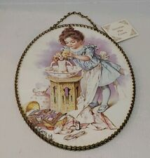 """Victorian Chimney Flue Cover 11"""" Vintage Replica Gallery Graphics Young Girl"""
