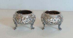 Pair Kirk REPOUSSE Coin Silver Footed Salt Cellars,100 Grams