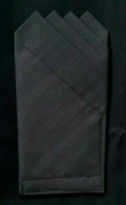 POCKET SQUARE Charcoal 4 point  -Custom pre-folded & Sewn - just slips in pocket