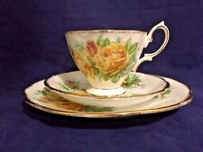 Vintage Royal Albert Yellow Tea Rose England Cups & Saucers Trio