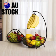 Decorative Plates 2 Tier 2 Bowl Steel Wire Kitchen Vegetable Fruit  Basket Tray