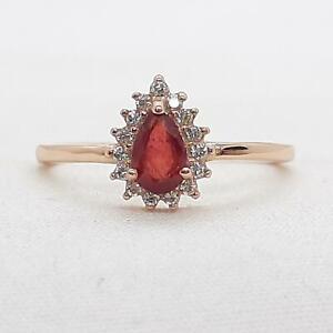 .60ctw  Mozambique Ruby & Diamond Cut White Sapphire 14K Rose Gold 925 Ring