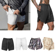 Men's 2-in-1 Workout Shorts Gym Running Fitness Short Pants with Zipper Pockets
